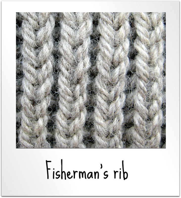 How to knit into the stitch below for fisherman s rib