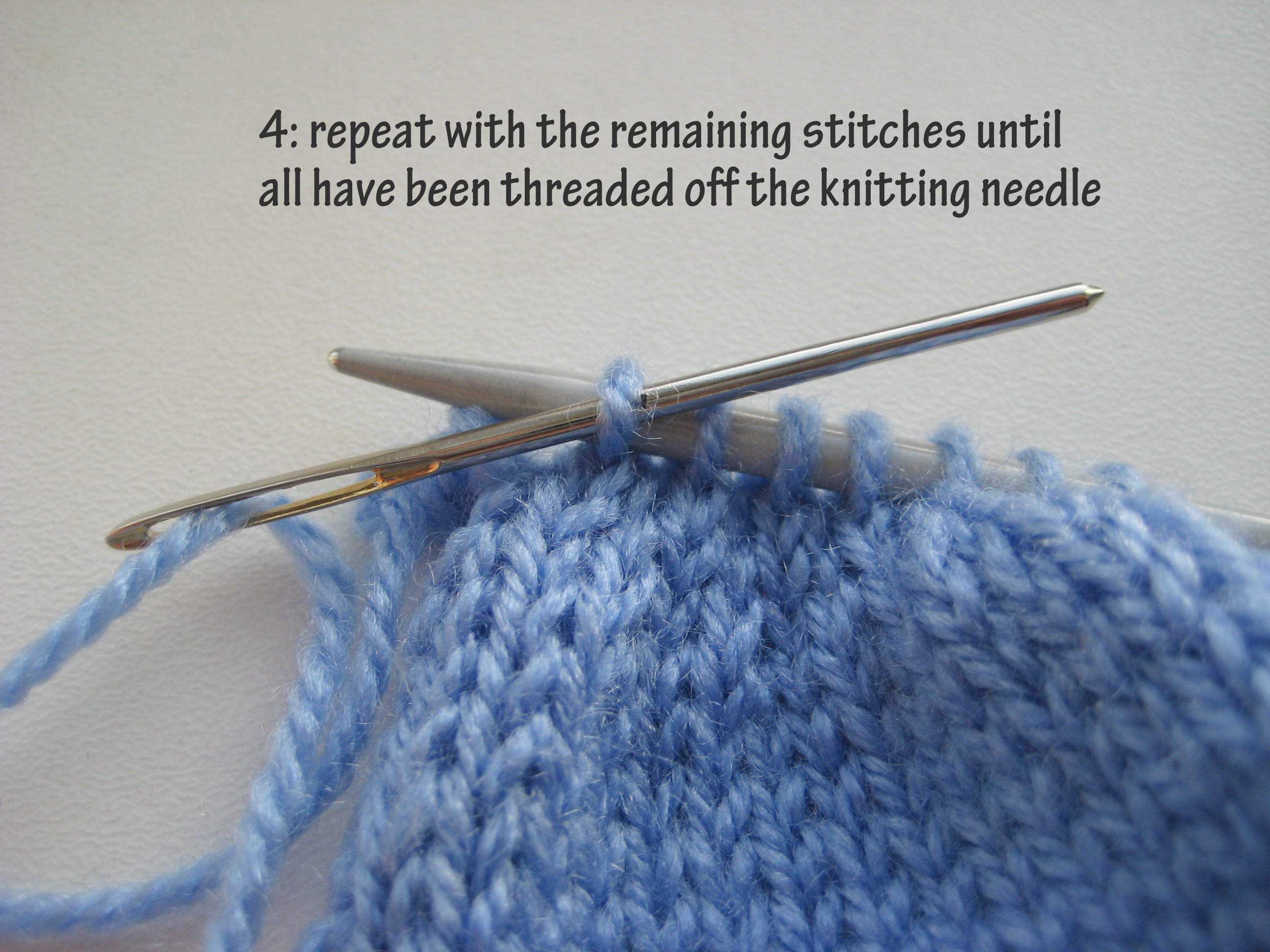 Knitting Together Live Stitches : How to  pull through  knitting cast off